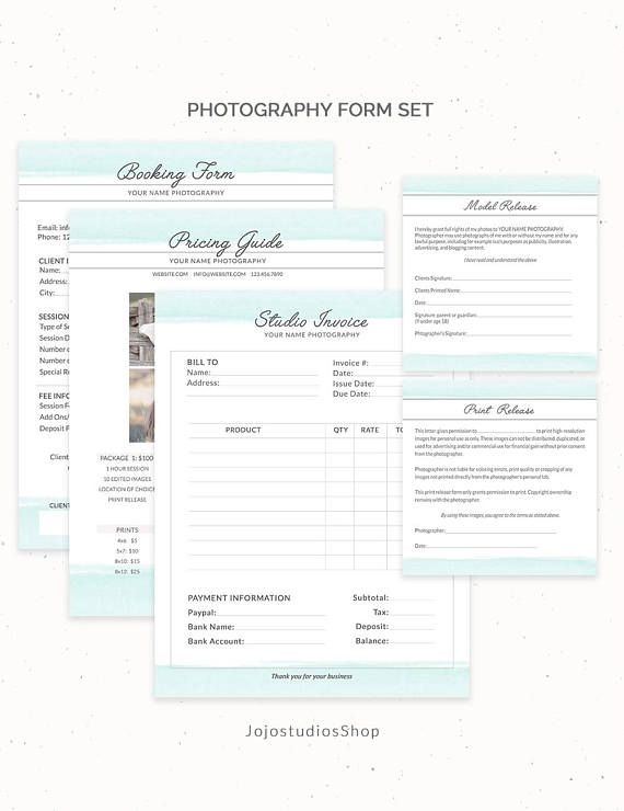 Photography Contract Bundle, Invoice Photography Forms Set, Booking