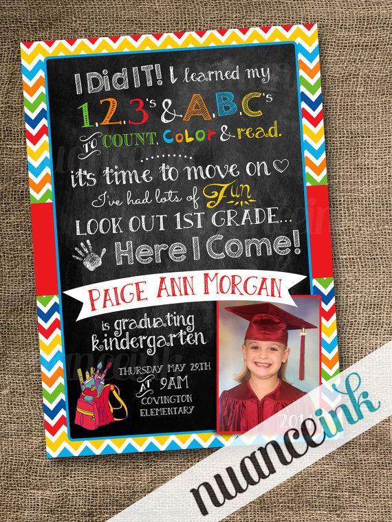 custom kindergarten pre school graduation announcement invitation pre