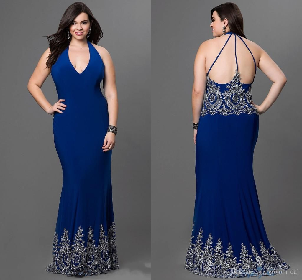 sexy halter prom evening dresses plus size royal blue backless
