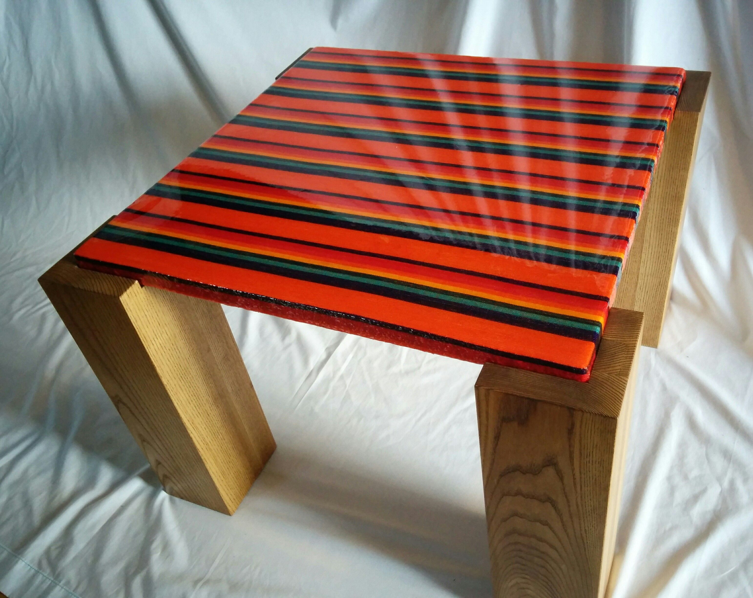 Resin Table Top With Embedded Mexican Fabric By Fogliart