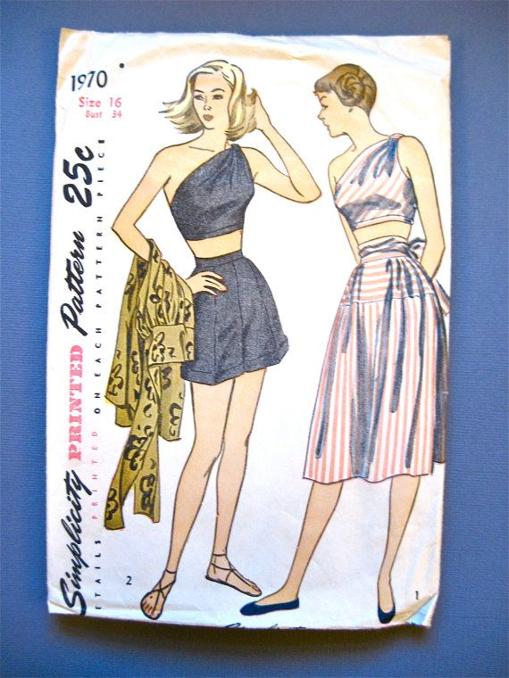 1940s Simplicity 1970 sewing pattern to make playsuit Bust 34 inches ...