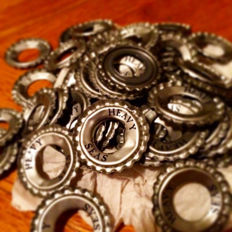 Stamped out Beer Caps.JPG The making of a #beer #cap #cufflink