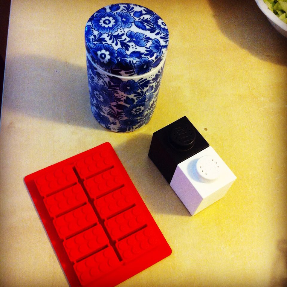 Lego salt & pepper, lego ice-cubes, and Delft Blue