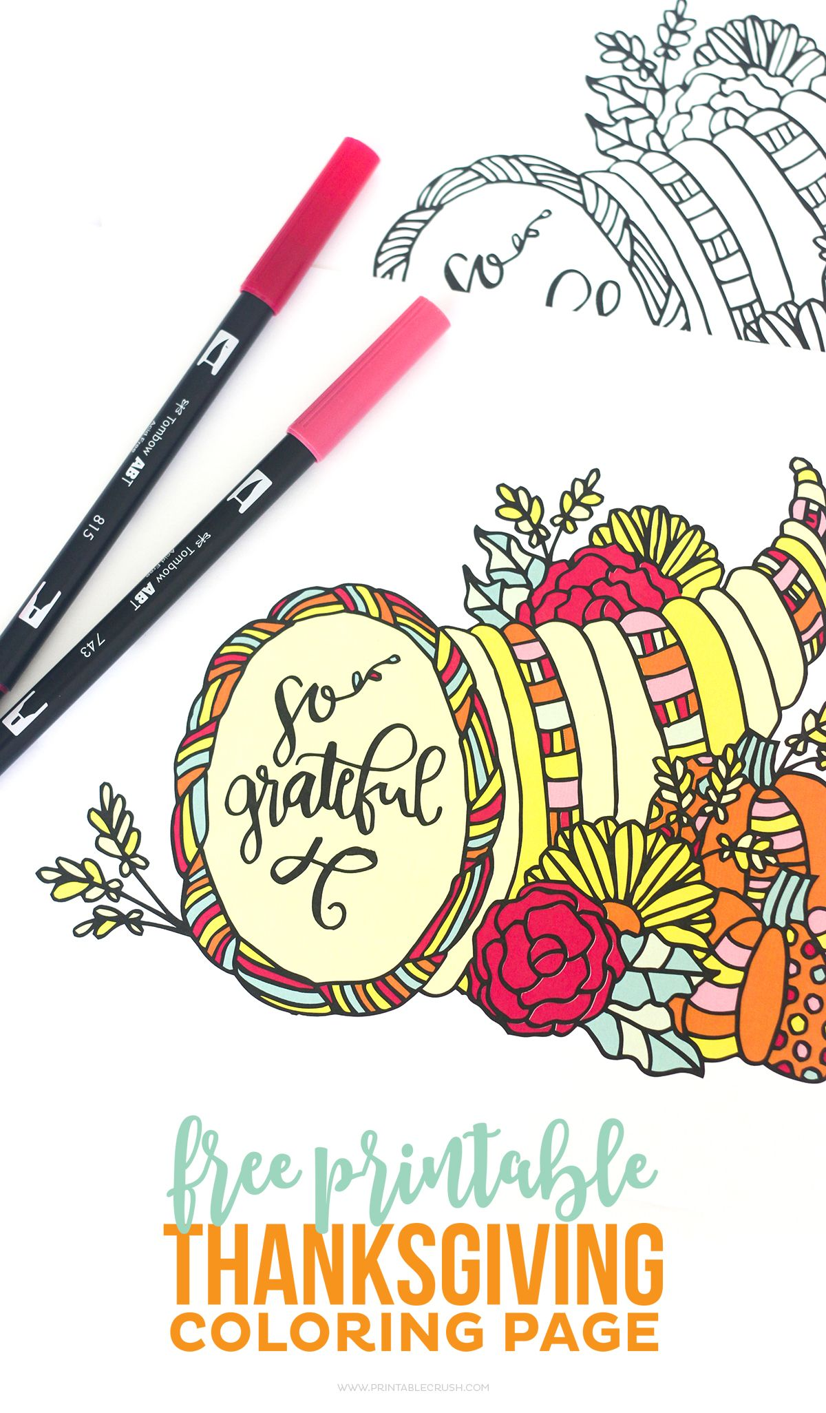 Download This Pretty Thanksgiving Coloring Page For Your Dinner Guests Its A Great Adults And Children