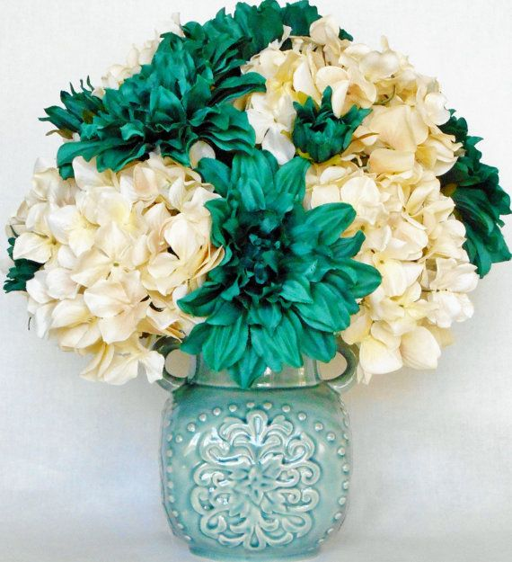 Artificial Flower Arrangement Green Teal By Beautyeverlasting Artificial Flower Arrangements Flower Arrangements Center Pieces Flower Arrangements