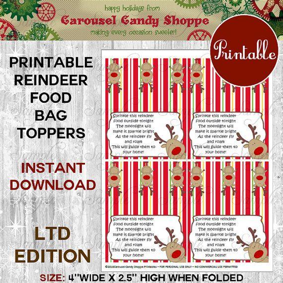 MAGIC Reindeer Food Bagtoppers Recipe and Instruction Sheet Printable DIY Instant Download Print Cut Create #reindeerfoodrecipe