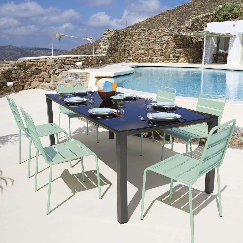 Silla de jardín de metal azul turquesa | IDEES PATI ...
