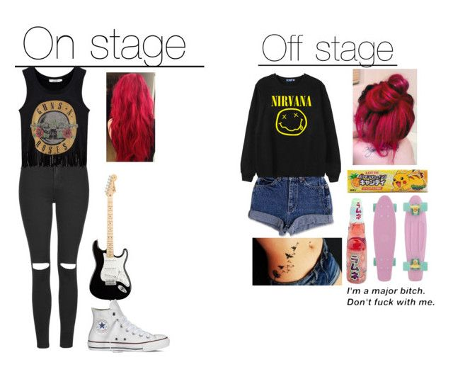 """If I was in a band"" by marchehood ❤ liked on Polyvore featuring Topshop, Converse and Chicnova Fashion"