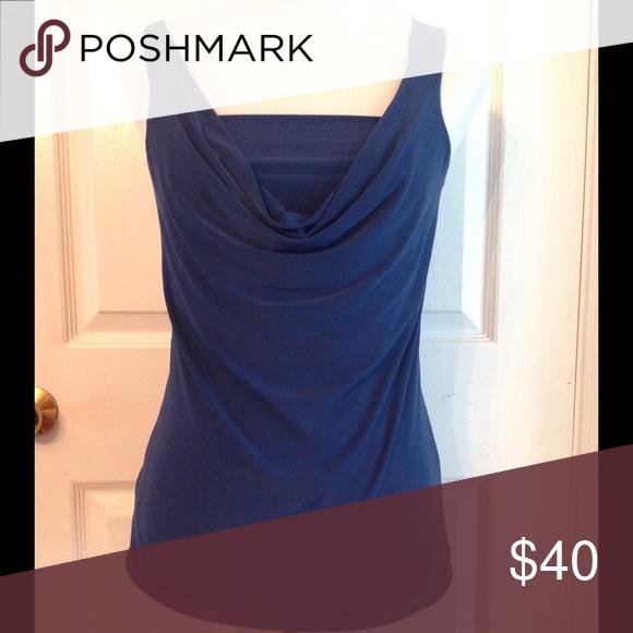 4f5e54f650b16 Elegant dark blue sleeveless top Dark blue. Fitted. Very classy Express  Tops Blouses