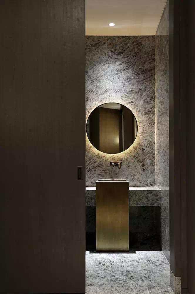 Gold Copper Black Marble Dark Wood Luxury Bathroom Master Baths Round Mirror Bathroom Contemporary Bathroom Designs