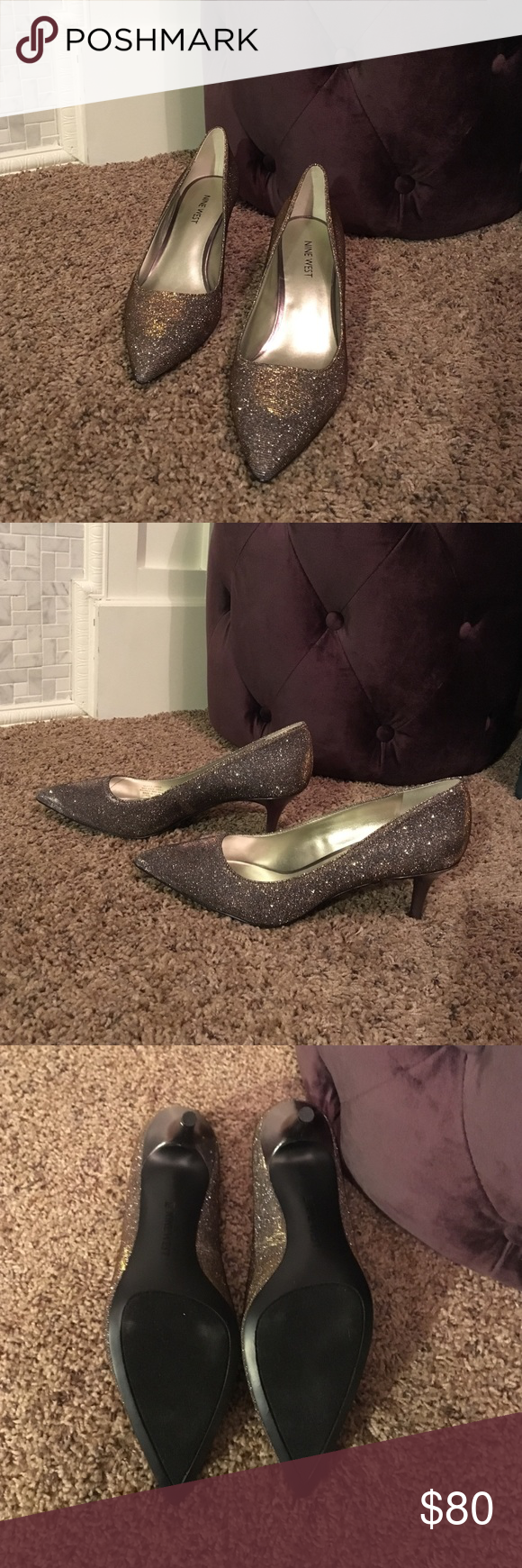 Nine West heels Sparkling silver, with gold tones in certain light. Smaller heel. New, not worn. Out of box. Nine West Shoes Heels