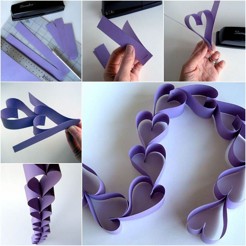 Creative Ideas DIY Valentine Paper Heart Chain Paper hearts