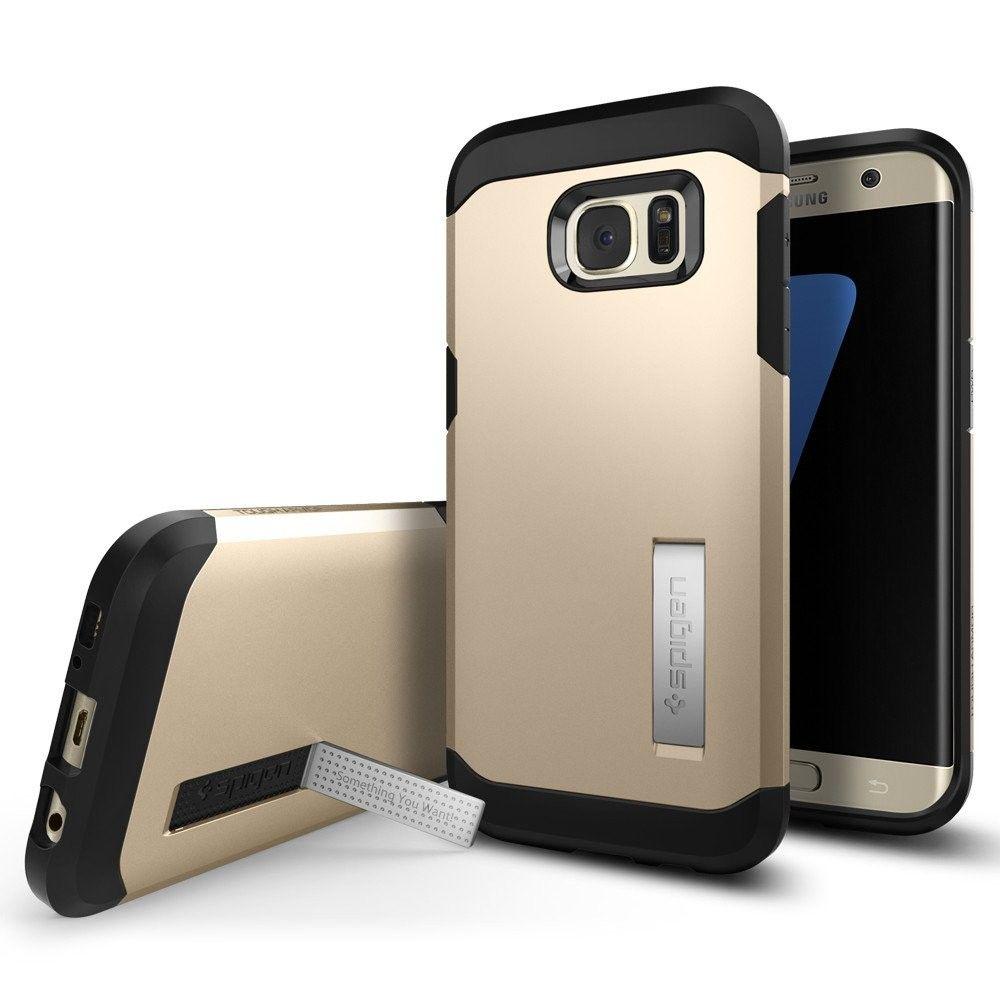 sale retailer 2d783 8de02 Spigen Galaxy S7 Edge Case Tough Armor Gold in 2019   Best Buy ...