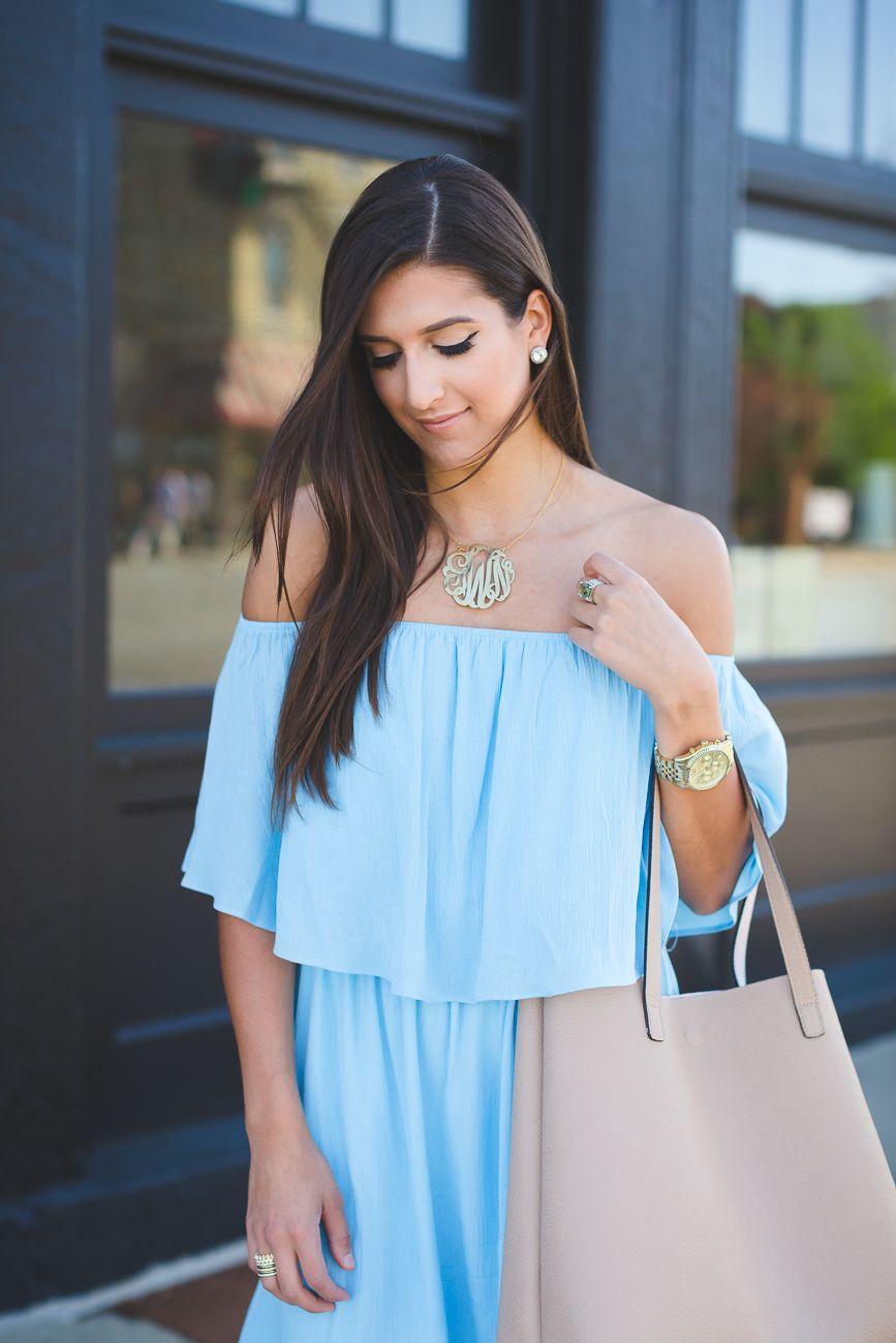 Blue Off The Shoulder Dress Spring Fashion Style Sandals Gold Monogram NecklaceNordstrom DressesWedding Guest