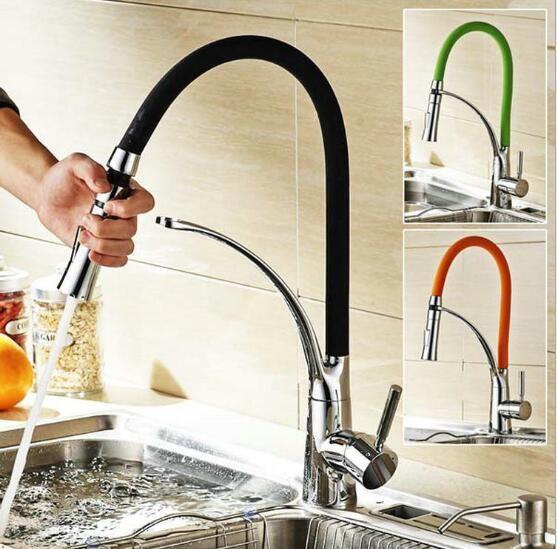 Black And Chrome Finish Kitchen Faucet Kitchen Sink Faucet Deck
