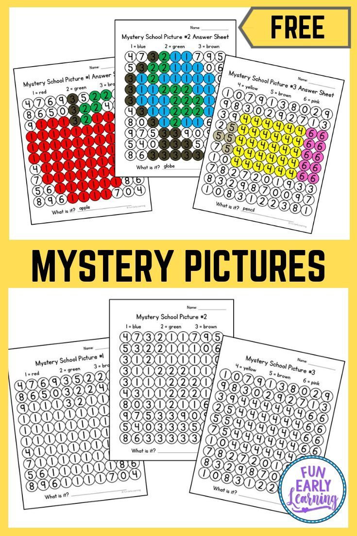 Back to School Math Mystery Pictures is part of Kindergarten math - or the order page  This product includes 	10 pages total 	Mystery Pictures  3 different mystery pictures with corresponding answer sheet   The prep is easy! Simply print, grab some bingo daubers and you're ready!   Additional products we recommend for this activity This product contains affiliate links  Bingo Daubers Paper   This product entitles you to one license which constitutes the right for one person to use the product  If you wish to share our products with other teachers, friends or family, you must purchase additional licenses  Please refer to our complete Terms of Use here  Other products you'll love Complete Preschool Math Curriculum Letters & Phonics Literacy Curriculum Back to School Math & Literacy Activities Letter Search and Match Play Dough Number Mats