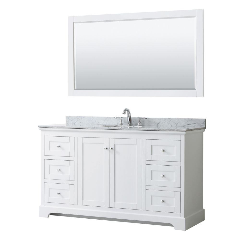 Avery 60 Inch Single Vanity In White White Carrara Marble Top