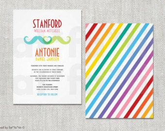 gay wedding invitation double mustache rainbow colorful same sex marriage custom moustache modern party invite - Rainbow Wedding Invitations