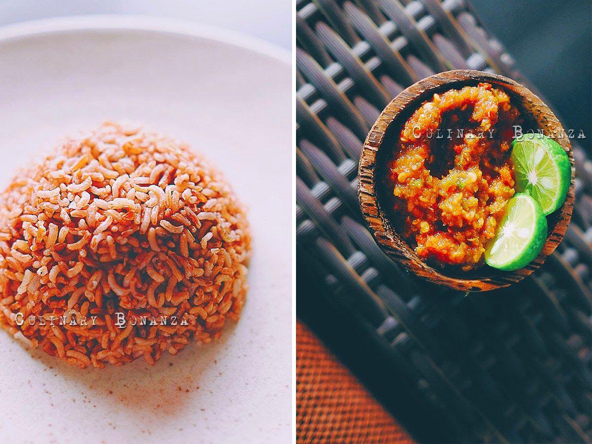 Left Nasi Merah Right Sambal Cobek Pedas indonesianfood