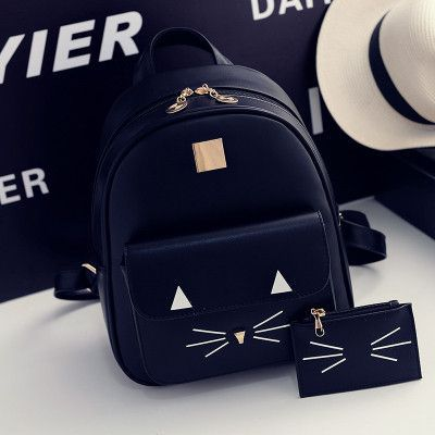2016 Women Backpack School Bags For Teenagers Girls Pretty Style Cat Backpack PU Leather Backpack Black Women's Backpack