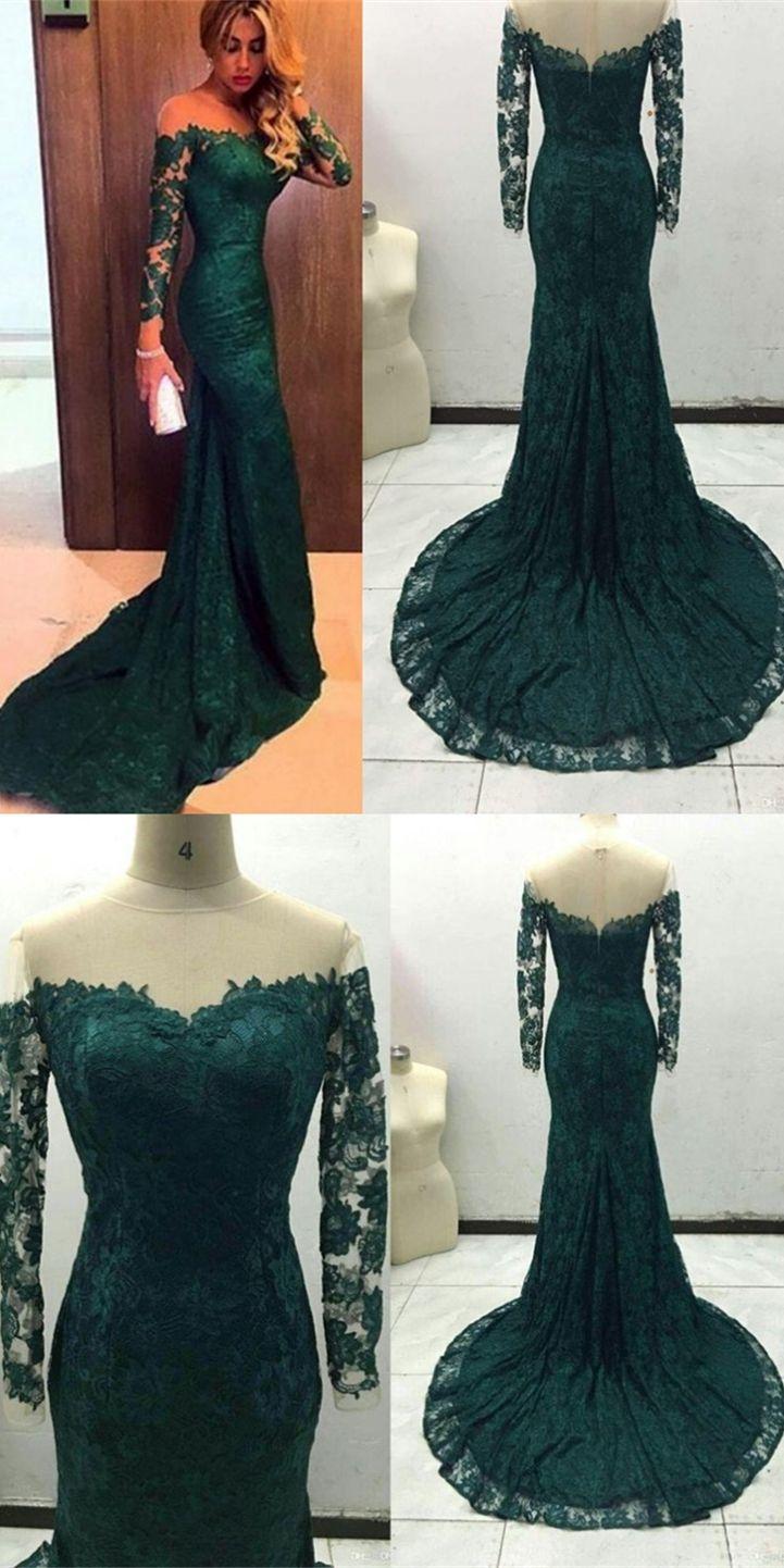 Dark Green Mermaid Long Sleeves Prom Dress With Train Prom Dresses Long With Sleeves Green Prom Dress Long Sleeve Prom Dress Lace [ 1442 x 721 Pixel ]