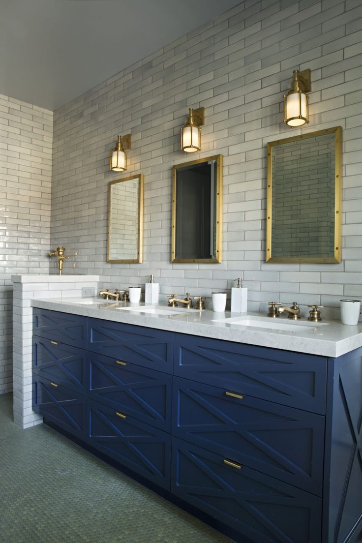 Three sink navy vanity and gold accent bathroom | Matt Morris ...