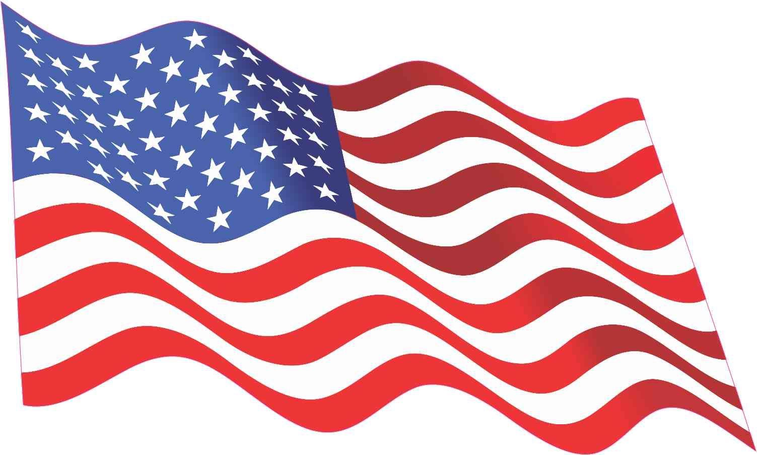 10in x 6in Waving American Flag Sticker Decal Stickers Window Vinyl Decals