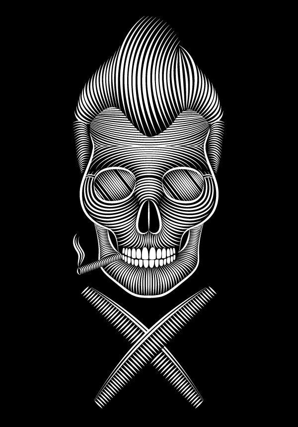 Skull 210 Rockabilly Skull by Patrick Seymour