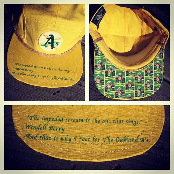 Oakland A's Patch on 5 Pannel Hat with Glenn Burke image and Wendell Berry Quote