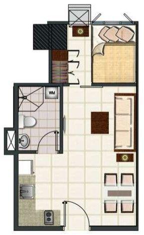 Blue Residences 1 Bedroom Deluxe Unit Floor Plan Realestate Condo Condoforsale Manilacondo Www Mymanilacondo Com Luxury Condo House Plans Condos For Sale