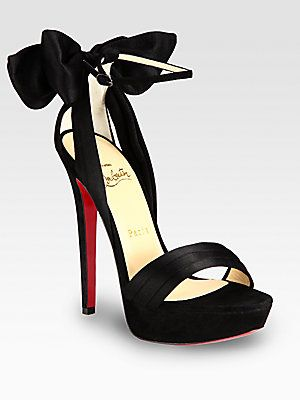 uk availability a426e b96e9 Christian Louboutin Vampanodo Satin and Suede Bow Platform ...