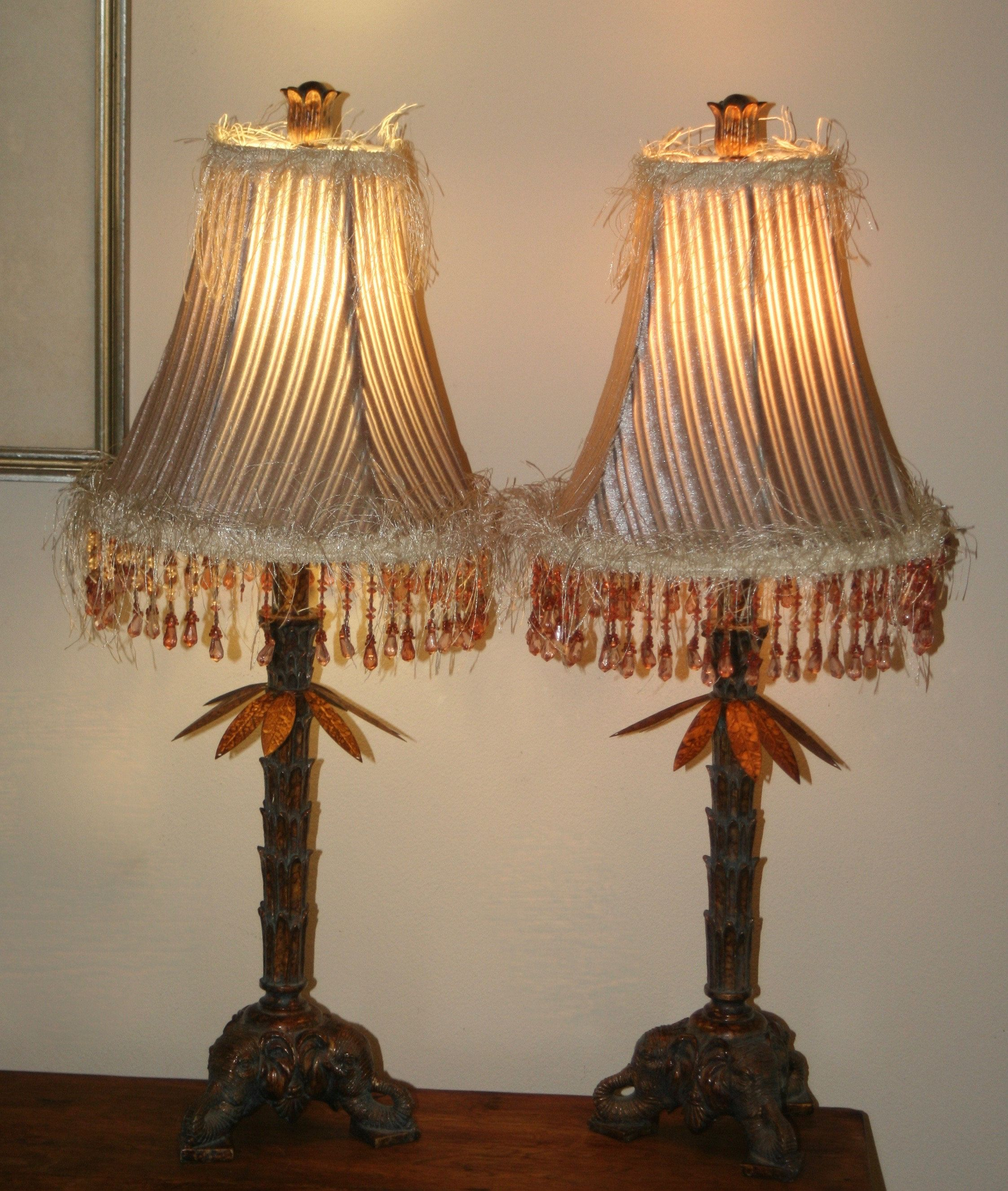 Lovely Pair Of Palm Table Lamps With Elephant Base And Amber Beaded Shades By Theoldgreengarage On Etsy Lamp Table Lamp Lamp Shade