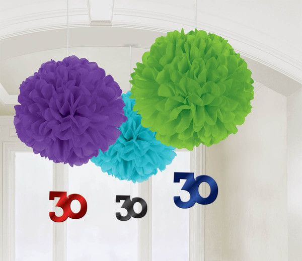 30th Birthday Fluffy Decorations | 3ct