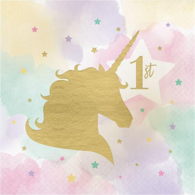 Unicorn Sparkle Luncheon Napkin, 16th Birthday, Hot Stamp, 16 ct - Sparkle birthday, Beverage napkins, Party ware, Pink unicorn, Pastel rainbow background, Unicorn desserts - Unicorn Sparkle Luncheon Napkin, 16th Birthday, Hot Stamp, 16 ct by Creative Converting  Shop for more party decorations from our Unicorn Sparkle Birthday Theme Supplies collection at PartyDecorations com