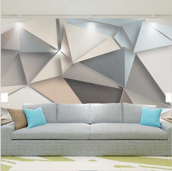 Stylish modern 3d abstract geometric wallpaper custom mural wohnideen - Geometrische wandbilder ...