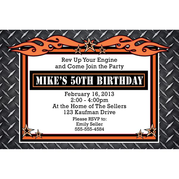 Dads party stuff someones biirthday party pinterest hammer down biker personalized invitations at birthday direct harley davidson filmwisefo Image collections