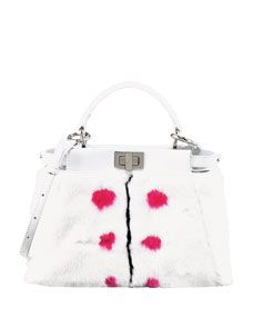 Fendi Peekaboo Small Dotted Fur Tote Bag, White