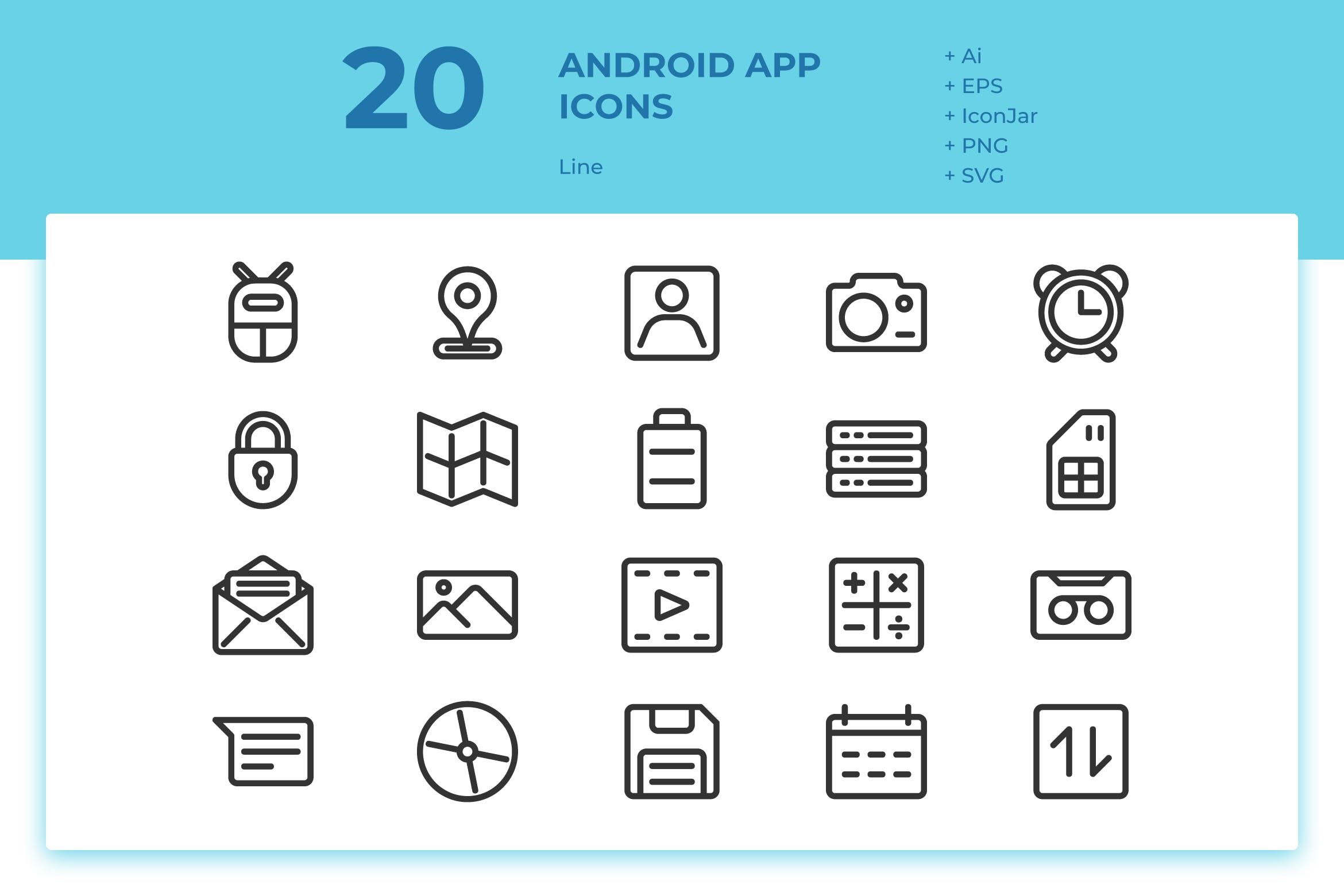 20 Android App Icons (Line) by inipagi on di 2020