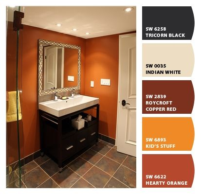 Check Out These Colors I Just Chipped Orange Bathrooms Burnt Orange Bathrooms Orange Bathroom Decor