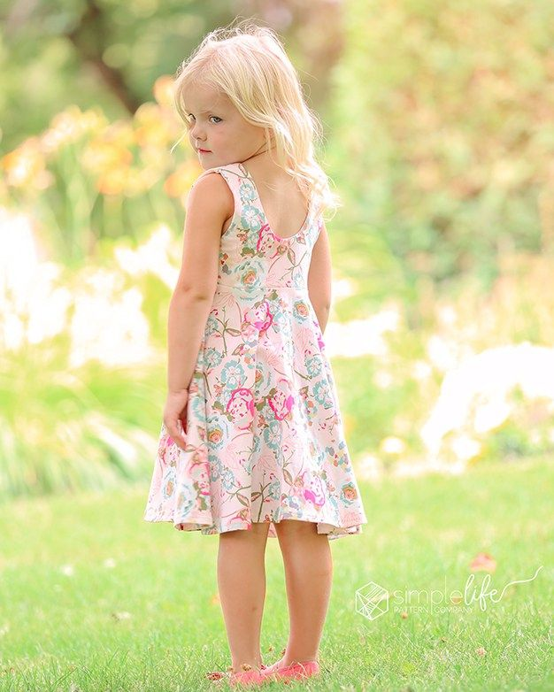 29ff2016ce64a ... + Dress | The Simple Life Pattern Company knit woven combo pdf sewing  pattern baby girls babies tween scoop back lined bodice tie bow back circle  skirt ...