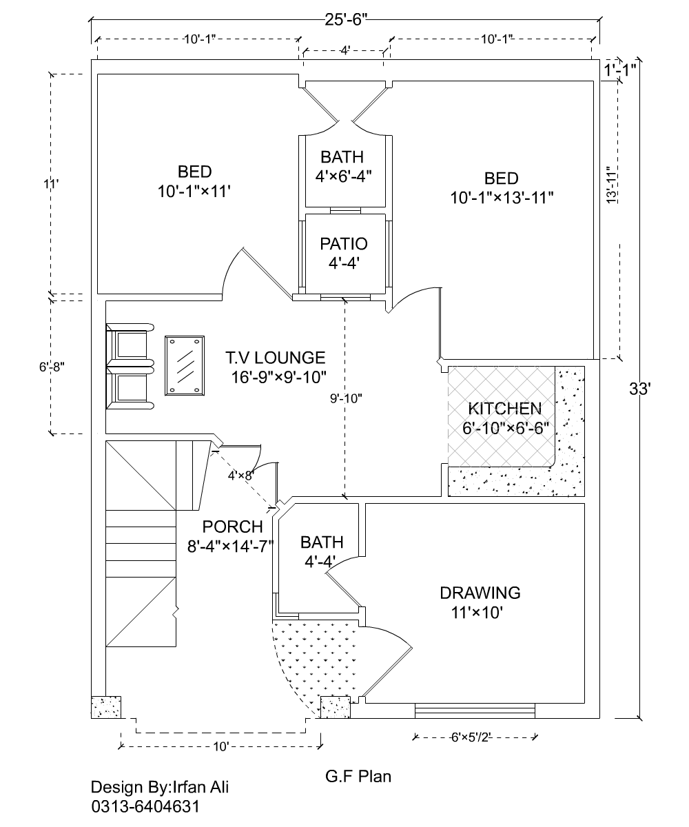 25x33 House Plan, 3 Marla House Plan