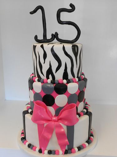 Pink and black 15th birthday cake 2240 15th birthday cakes 15th