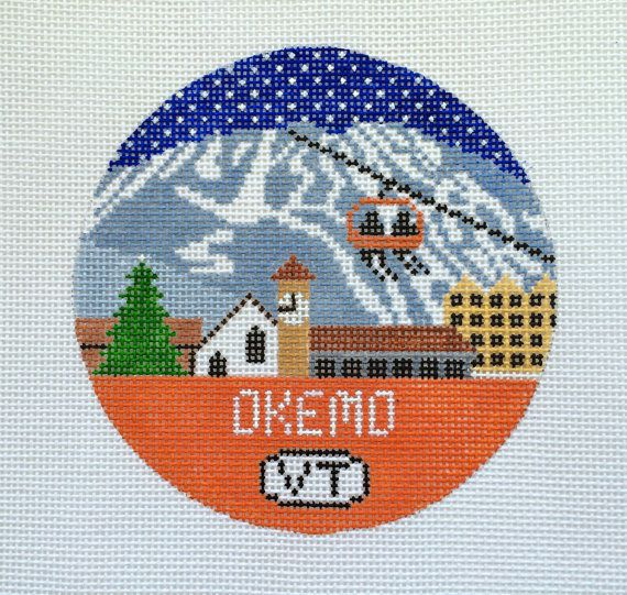 Okemo Needlepoint Ornament by DoolittleStitchery on Etsy