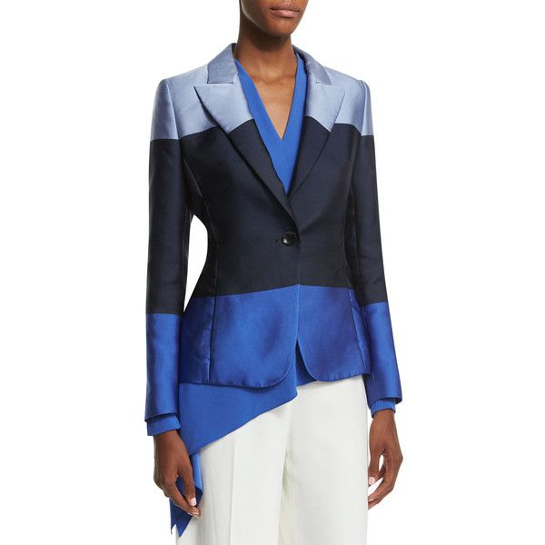Escada One-Button Colorblock Jacket (€1.420) ❤ liked on Polyvore featuring outerwear, jackets, heather blue, blue jackets, colorblock jacket, escada jacket, one button jacket and long sleeve jacket