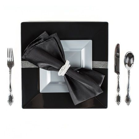 Disposable plastic dinnerware and flatware for your wedding or event by Smarty Had A Party!  sc 1 st  Pinterest & Three Looks For Square Silver Plates | Plastic dinnerware ...