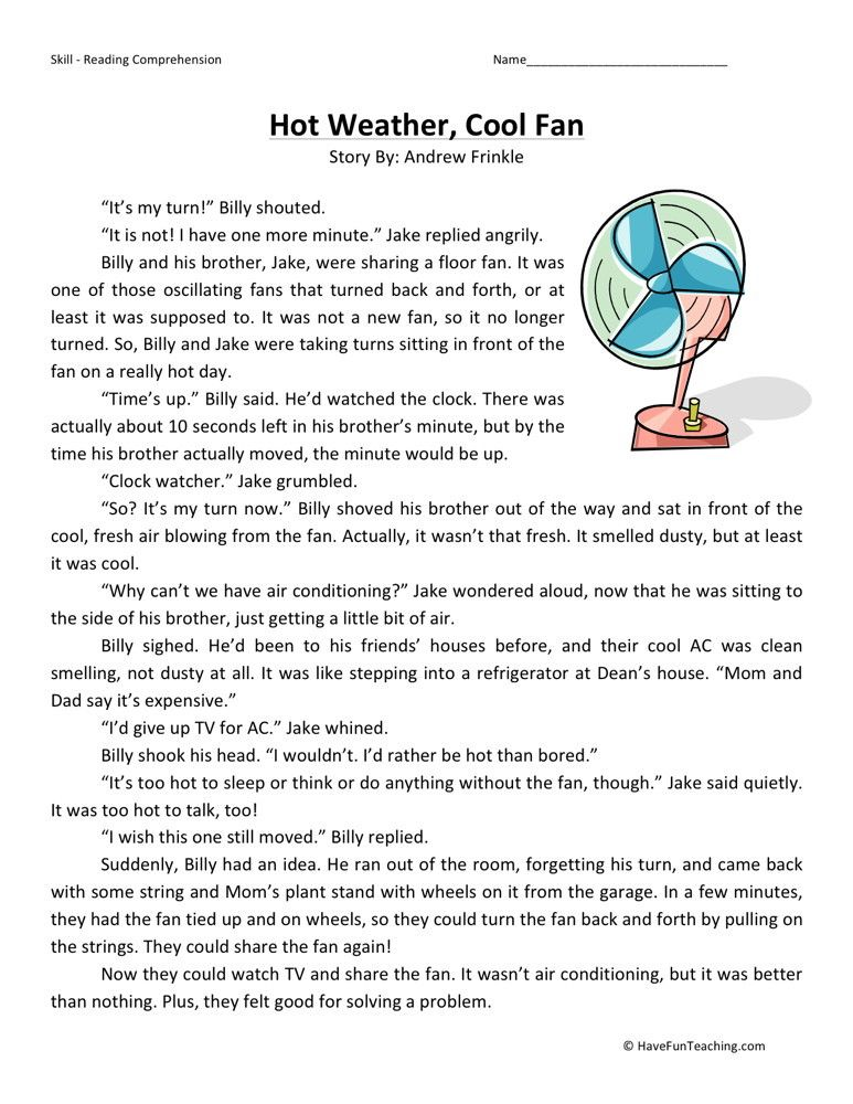 Reading Comprehension Worksheet Hot Weather, Cool Fan