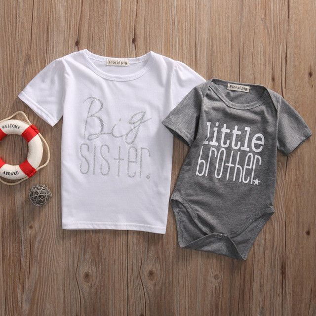 Matching Cotton Clothes Big Sister Girl T-shirt Little  Romper Outfit Set