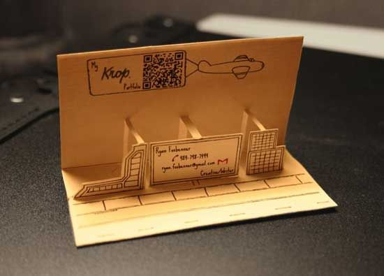 business card design-drawing pop up