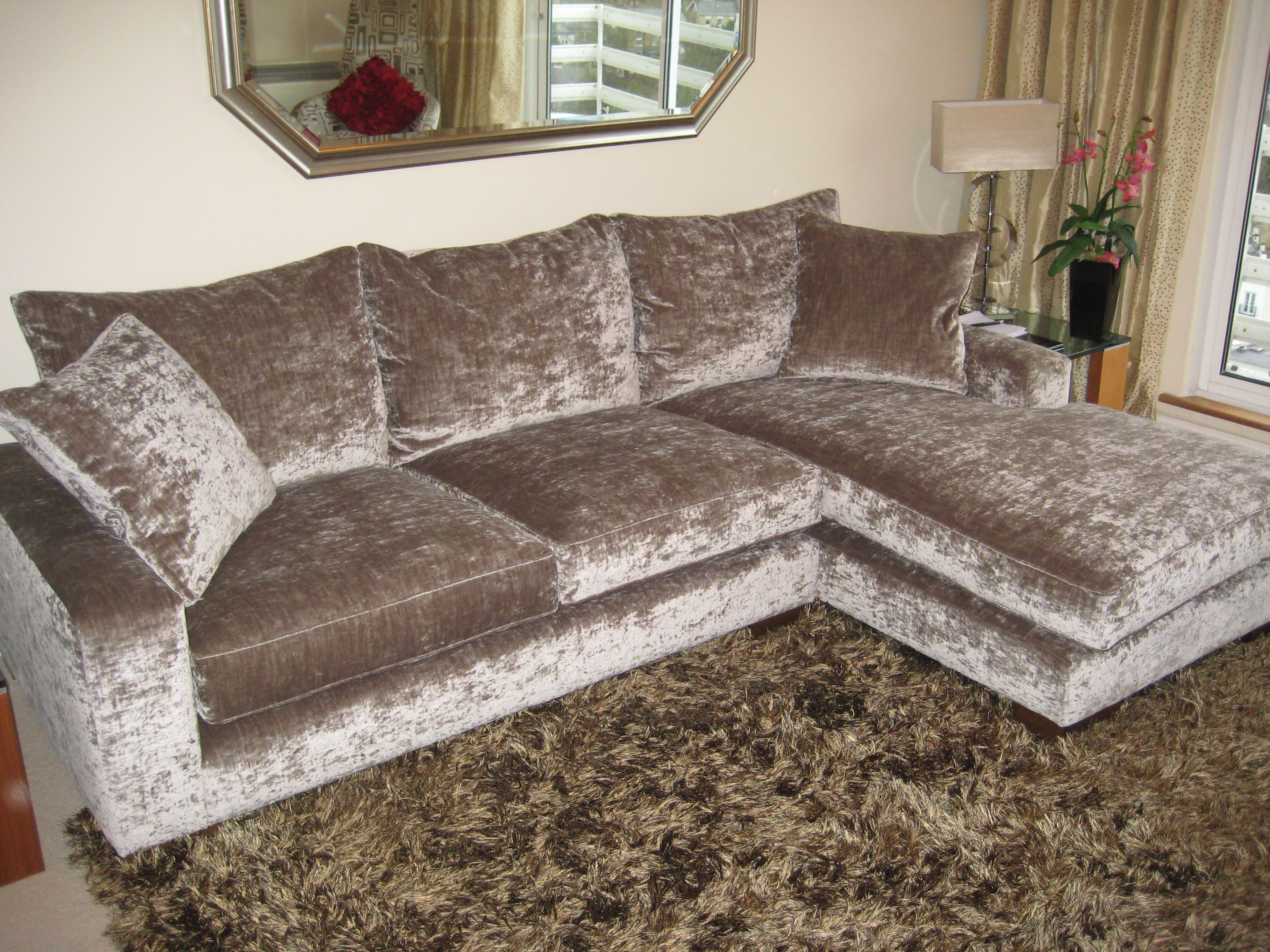 Right hand facing Freycinet chaise and medium one armed sofa in