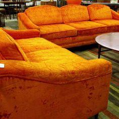 Orange Velvet Couch   Google Search